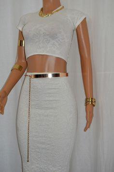 919d7cacbde Super Cute Ivory Scroll Matelasse Midi Skirt & Laser Crop Top Set  #BzFashions #SkirtSet