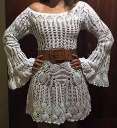 crochelinhasagulhas: Vestido branco em crochê