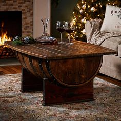 Handmade Vintage Oak Whiskey Barrel Coffee Table - Wine Enthusiast