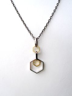 Mens Necklace Geometric Necklace Mixed Metal Jewelry Hexagon Mens Chain Necklace For Him and Her