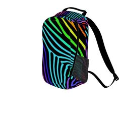 NEON ZEBRA BACKPACK by Monika STrigel #backpack #chevron #red #summer #cute #college #schoolbag #school #sport #sportsbag #strigel #skyou #indivdual#artsy