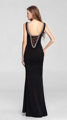 V.C.Formark Women's V Neck Mermaid backless Long Evening Party Prom Dress,Black,XS