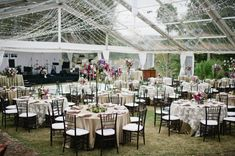 Clear Tent with lights.  Romantic reception setting.