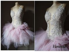 Vanessa Powder Pink and beige prom dress Tulle by AtelierArtistia