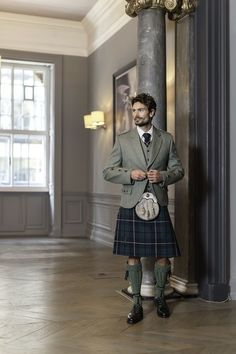 The Heritage Collection: Try one of our Clunie range tweed jackets to inject some colour into your outfit. The model wears a Modern Douglas tartan kilt with a green tweed. Paired with Douglas clan crest accessories. Scottish Dress, Scottish Clothing, Scottish Man, Scottish Fashion, Scottish Kilts, Scottish Tartans, Men In Kilts, Kilt Men, Kilt Wedding