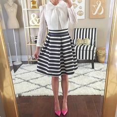 Um...this bow blouse is under $15 (nice quality too!) and my favorite striped skirt is only.... @liketoknow.it www.liketk.it/1iCTi #liketkit