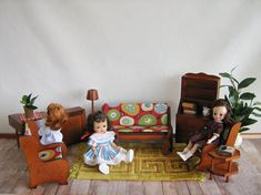 Vintage Wooden Doll Furniture  9 Piece Living Room by TheToyBox