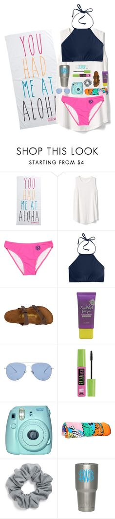 """""""you had me at aloha.🍍"""" by preppy-renee ❤ liked on Polyvore featuring Rip Curl, Gap, J.Crew, Birkenstock, Lacvert, Kaleos, Maybelline, Fuji, Emilio Pucci and Natasha"""