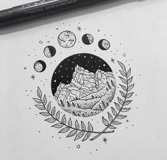 T-shirt Ideas, Unique Mountain and Moon Design. T-shirt Ideas, Unique Mountain and Moon Design. Easy Drawings, Tattoo Drawings, Body Art Tattoos, Pencil Drawings, Indie Drawings, Unique Drawings, Tatoos, Stylo Art, Pen Art