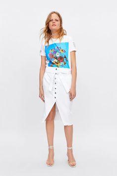 Zara Buttoned Denim Skirt in White Spring Hats, Spring Summer, Jeans Rock, White Skirts, Zara Women, Summer Wardrobe, Women's Fashion Dresses, New Outfits, Denim Skirt