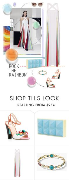 """Rainbow Brite"" by parkersam76 ❤ liked on Polyvore featuring Mary Katrantzou, Fendi, Ippolita, women's clothing, women, female, woman, misses and juniors"