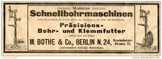 Original-Werbung/ Anzeige 1905 :  SCHNELLBOHRMASCHINEN / BOTHE BERLIN - ca.200 x 70 mm