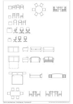 CAD Blocks Furniture First In Architecture Architecture Symbols, Interior Architecture Drawing, Drawing Interior, Interior Design Sketches, Architecture Plan, Architecture Diagrams, Architecture Portfolio, Drawing Furniture, Furniture Layout