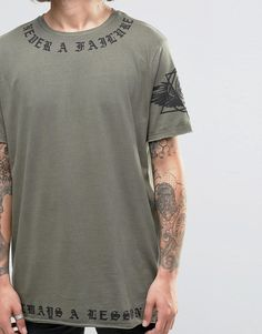 Image 3 of ASOS Longline T-Shirt With Script Neck And Hem Print And Raw Edges