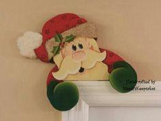 icu ~ Pin on Christmas Crafts ~ Hand painted Wooden Santa Door Hanger, Chritmas Decor, Wall Art Christmas Wood Crafts, Felt Christmas Decorations, Outdoor Christmas, Christmas Projects, Simple Christmas, Christmas Home, Holiday Crafts, Christmas Ornaments, Illustration Noel