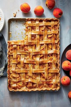 The next time you need a dessert for a crowd--backyard barbecue, picnic, block party--think slab pie. You'll need to roll the dough out so that it's very thin; to make this easier, you can roll it out on parchment paper and place the whole thing, including the paper, in the pan.#dessertrecipes #dessertideas #dessertdishes #sweettreats Desserts For A Crowd, Just Desserts, Summer Desserts, Potluck Desserts, Light Desserts, Sweet Desserts, Pie Recipes, Dessert Recipes, Recipies
