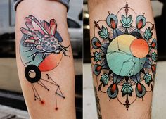 circle patterns and color tattoo by cody eich