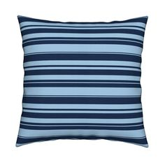 Catalan Throw Pillow featuring Horizontal Nautical Stripes by thepinkhome | Roostery Home Decor