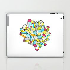 Gem and Mineral Dream Laptop & iPad Skins by Cally Creates - $20.00. yellow, pink, white, grey, gray, turquoise, blue, bright, colourful, colourful, gem, mineral, surface pattern, growth, comic, decorative, geek, fun,