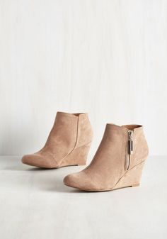 Manuscript Magic Bootie. Celebrate your compositions publication by stepping into these tan wedges and toasting to sweet success! #tan #modcloth