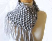 Knit Cowl Capelet in Pearl Gray Chunky Fringed Wool https://www.etsy.com/listing/38177810/knit-cowl-capelet-in-pearl-gray-chunky?ref=tre-2723151732-8 @OnFire