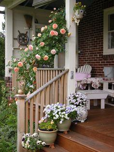 cute porch ~ love the climbing roses