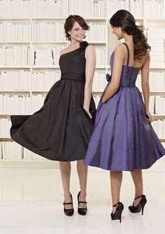 Asymmetric Strap Tea length Sash Taffeta A-line Bridesmaid Dress