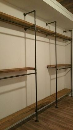 Superb Black Iron Pipe Master Closet Shelving With Tall Dress Hanging Section  #olmsteadhomesteads #buildqualitylife
