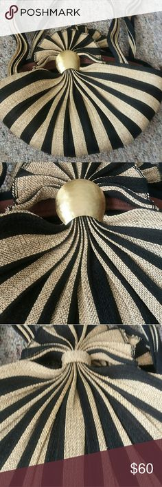 EUC Handmade purse Beautiful black and tan striped purse. Fits comfortably over your shoulder. Wide open inside with a small zipper compartment.   Used once as a larger evening bag Bags Shoulder Bags