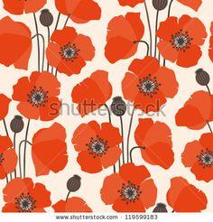 Poppy Seamless Pattern Ilustraciones Vectoriales de Stock: 119599183 : Shutterstock
