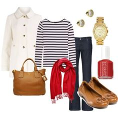 I like the pop of red, but love the whole outfit, stripped shirt, dark wash jeans, gold accents, dark tan bag/shoes. White trench.