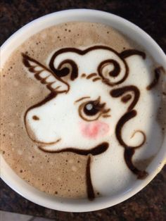 Latte art unicorn