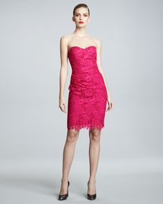 David Meister Signature Strapless Lace Cocktail Dress - pink + lace - what's not to love? $1595
