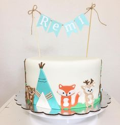 An adorable teal and orange woodland cake with foxes, teepees, and a cake banner! 1st Birthday Parties, Birthday Cake, Fox Cake, Woodland Cake, Cake Banner, 2nd Anniversary, Custom Cakes, Themed Cakes, Party Time