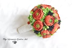 FREE SHIPPING Bridal Wedding bouquet,bouquet of handmade, Orange Ranunculus bouquet, Polimer clay, Natural look bouquet, wedding set