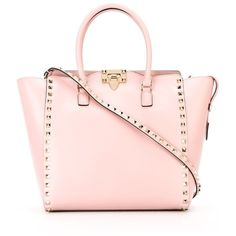 Valentino Garavani 'Rockstud' trapeze tote ($2,080) ❤ liked on Polyvore featuring bags, handbags, tote bags, pink, leather tote, pink tote, pink leather tote, tote handbags and pink leather handbags