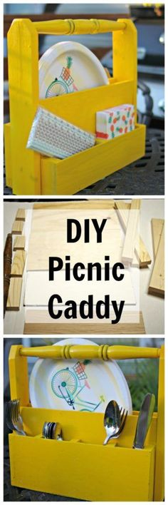 How to make a Picnic Caddy with scrap wood, glue, and brad nails.