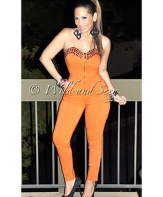 CORSET JUMPSUIT WITH CRYSTALS APLIQUES - ORANGE - DRESSES Un Día Bonito - Fashion - $69