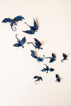 Game of Thrones Dekor, 3D Drache Wandtattoo, Mutter des Drachen, Fantasy Decor dunkel blaue Wandkunst (Diy Paper Fans)