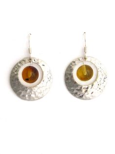 Mexican Amber Earrings | Silver Disc | Chiapas Bazaar | Handmade Mexican Blouses, Accessories & Home Decor from Rural Artisans