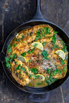 Lemony, briny and just a bit buttery, this Fish Piccata recipe with pan-seared trout and a lemon piccata sauce comes together in 20 minutes. The prefect weeknight meal with rice, pasta or your favorite grain. Trout Recipes, Baked Salmon Recipes, Seafood Recipes, Seafood Dishes, Fish Piccata Recipe, Mediterranean Dishes, Mediterranean Diet Recipes, Recipes With Fish And Shrimp, Recipes