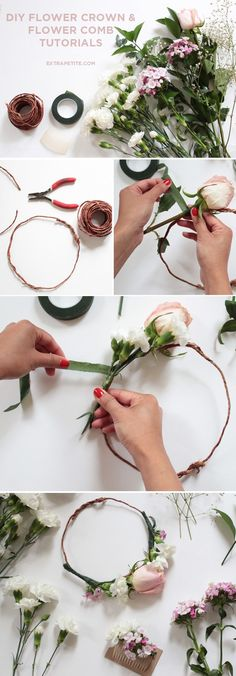 Flower crown & comb DIY tutorial (bridal shower activity) - Extra Petite - - I got a number of messages on these flower crowns and the floral comb hairpiece - not only are they a fun DIY, but also make pretty photos for memories. Diy Flower Crown, Diy Crown, Diy Flowers, Wedding Flowers, Flower Crowns, Flower Crown Tutorial, Bridal Shower Flowers, Flower Crown Hairstyle, Flower Shower