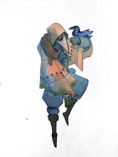 plauge Zauberer und Haustierkrähe – – About Anime Fantasy Character Design, Character Creation, Character Drawing, Character Design Inspiration, Character Illustration, Character Concept, Concept Art, Dnd Characters, Fantasy Characters