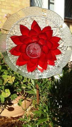 Red upcycled glass flower Made by Tracy Feltus of Kapunda, SA