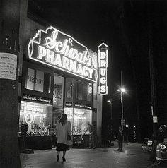Schwab's Pharmacy at night