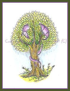 Dragon Fantasy Art  Purple Sleeping Dragon Art print by Cottagegarden, $10.00