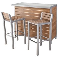 Host your first outdoor party as a couple! The Threshold Bryant Faux Wood Bar Set has room for beverages, glassware and more. You supply the fun!