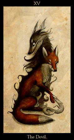 "Based on the fifteenth Major Arcana card in the traditional Tarot deck - "" The Devil"" (French: ""Le diable"") Foureye/Starer (c) by Major Arcana Cards, Fox Drawing, Arte Obscura, Fox Tattoo, Arte Horror, Fox Art, Tarot Decks, Furry Art, Tarot Cards"