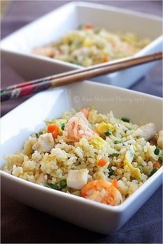 Chinese Fried Rice with Chicken+Shrimp. Love this recipe! Everything but the shrimp