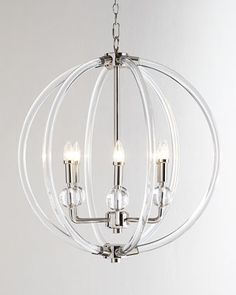 """Lucite Silver Six-Light Pendant, 26"""" x 26"""", 5' chain, 4"""" diam ceiling canopy.  $637.50 on sale at Horchow.com, 8/14/15"""